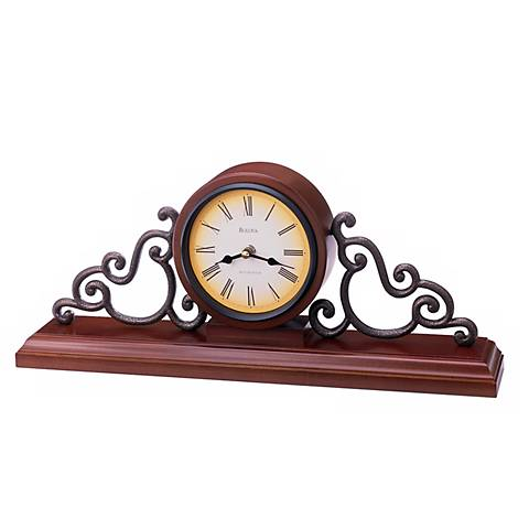 "Bulova Scroll 19"" Wide Mantel Chime Clock"