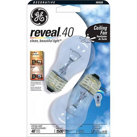 GE Reveal Clear 40 Watt 2-Pack Ceiling Fan Light Bulbs