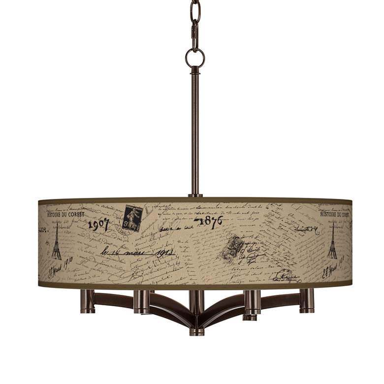 Letters to Paris Linen Ava 6-Light Bronze Pendant