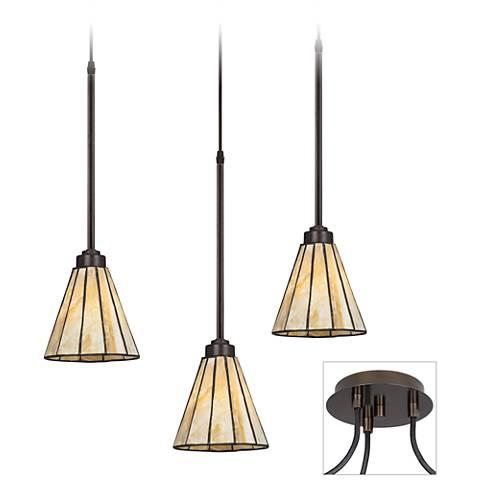 Honey Glass Tiger Bronze Triple Multi Light Pendant