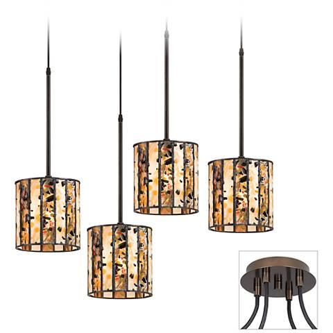 Speckled Glass Tiger Bronze 4-Light Pendant