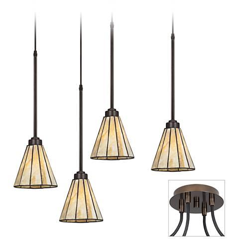 Honey Glass Tiger Bronze 4-Light Multi Light Pendant