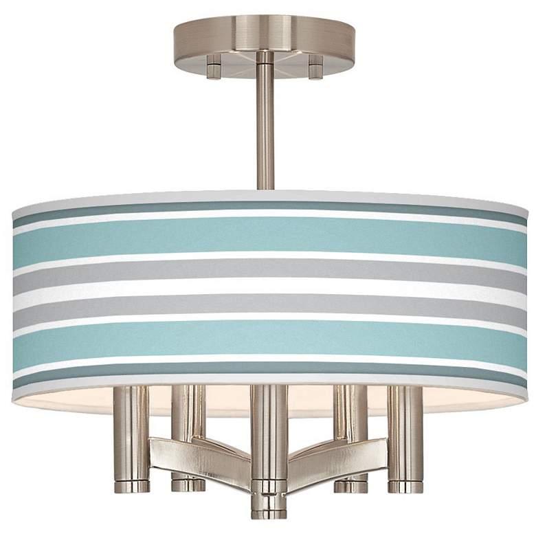 Multi Color Stripes Ava 5-Light Nickel Ceiling Light