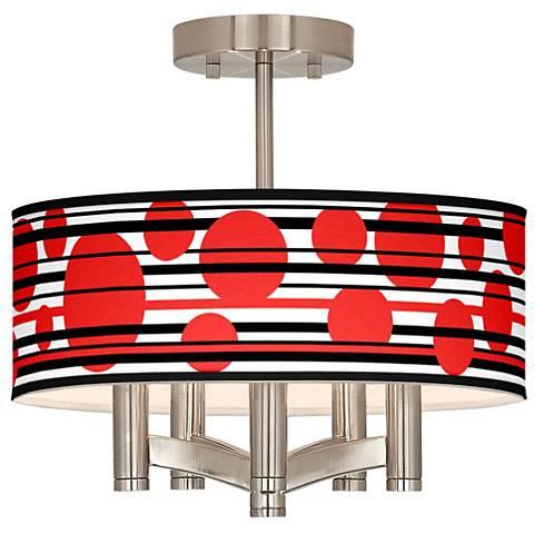 Red Balls Ava 5-Light Nickel Ceiling Light