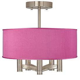Pink Orchid Faux Silk Ava 5 Light Nickel Ceiling