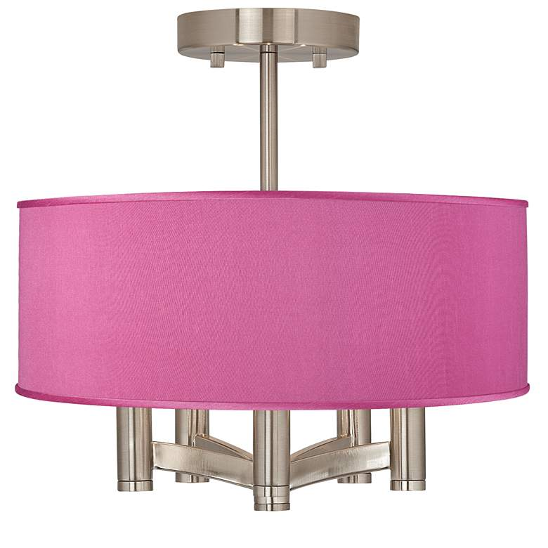 Pink Orchid Faux Silk Ava 5-Light Nickel Ceiling Light