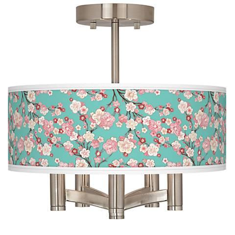 Cherry Blossoms Ava 5-Light Nickel Ceiling Light