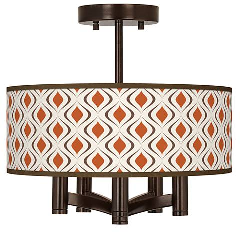 Retro Lattice Ava 5-Light Bronze Ceiling Light
