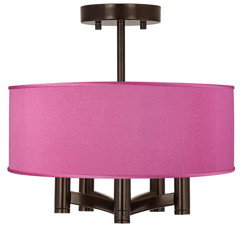Pink Orchid Faux Silk Ava 5-Light Bronze Ceiling