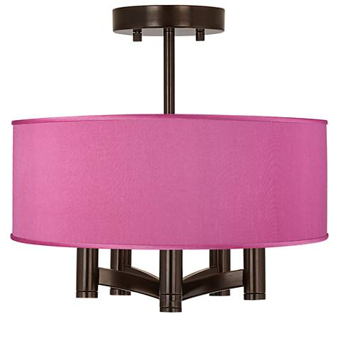 Pink Orchid Faux Silk Ava 5-Light Bronze Ceiling Light