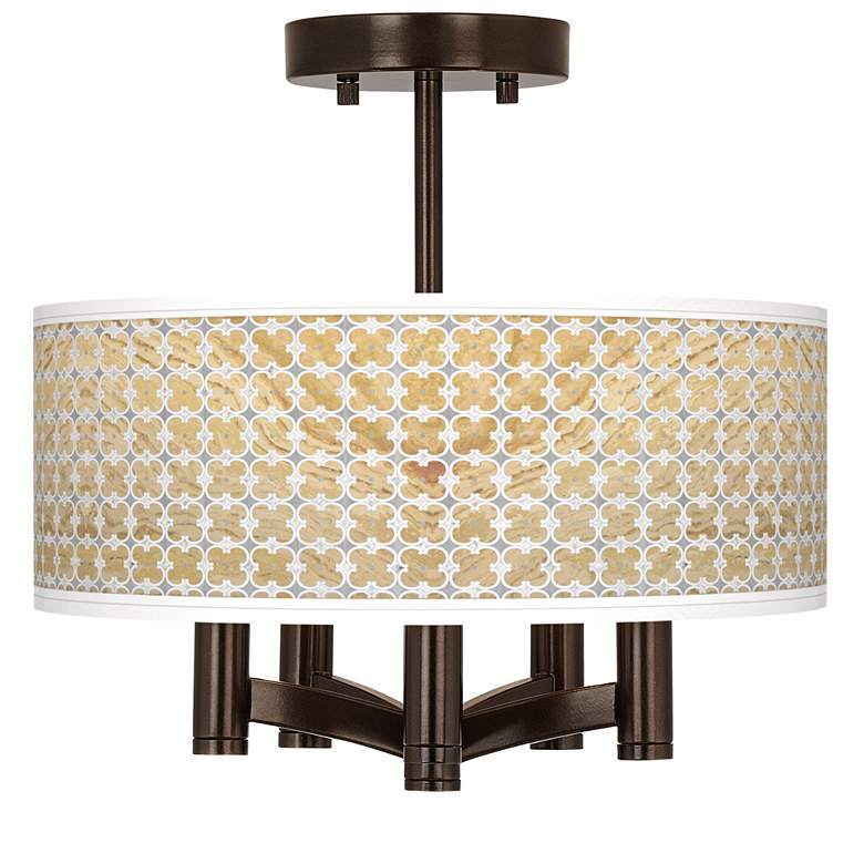 Marble Quatrefoil Ava 5-Light Bronze Ceiling Light