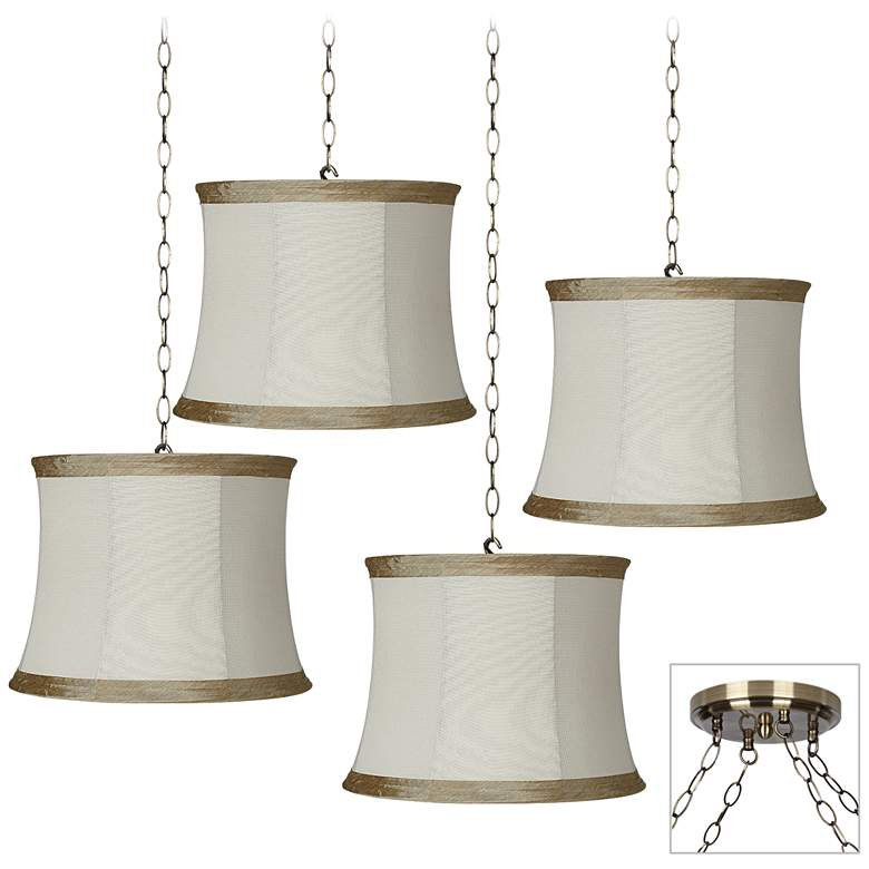 Ivory Linen 4-Light Antique Brass Multi Light Pendant
