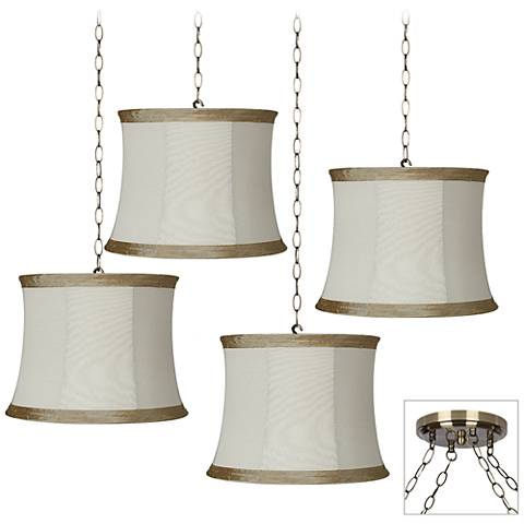 Ivory Linen 4-Light Antique Brass Multi Light Pendant