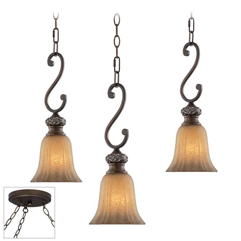 Sterling Estate Bronze Triple Multi Light Pendant