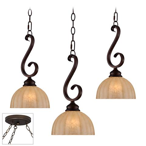Ferro Scroll Bronze Triple Multi Light Pendant
