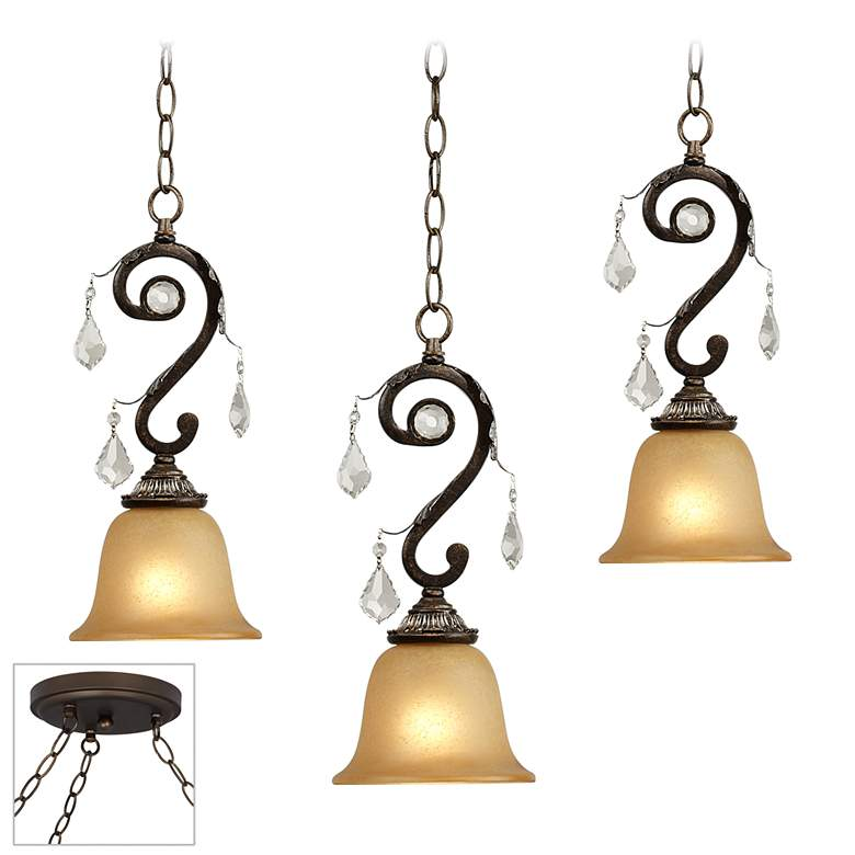 Kathy Ireland Rama de Luces Bronze 3-Light Multi
