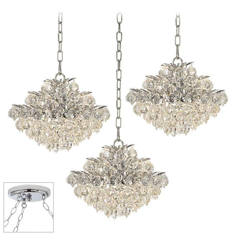 "Essa 12"" Wide Chrome and Crystal 3-Light Swag Chandelier"