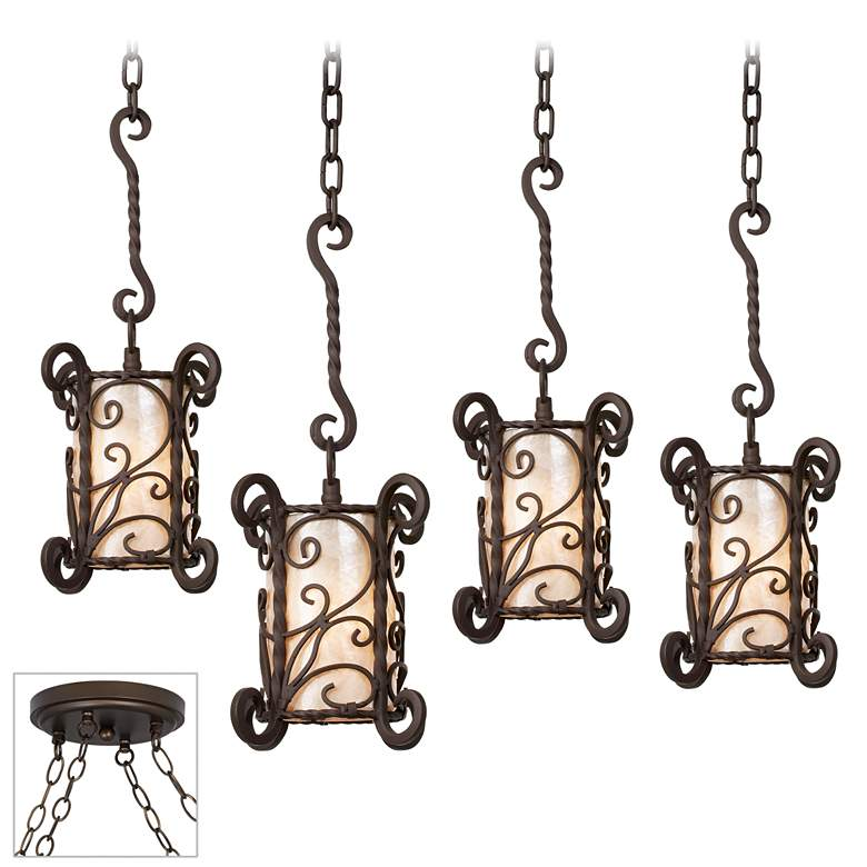 Natural Mica and Iron Bronze 4-Light Swag Pendant
