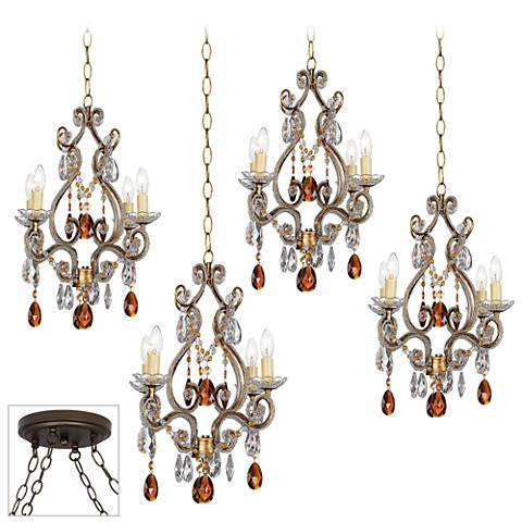 Leila Gold and Bronze 4-Light Multi Light Pendant