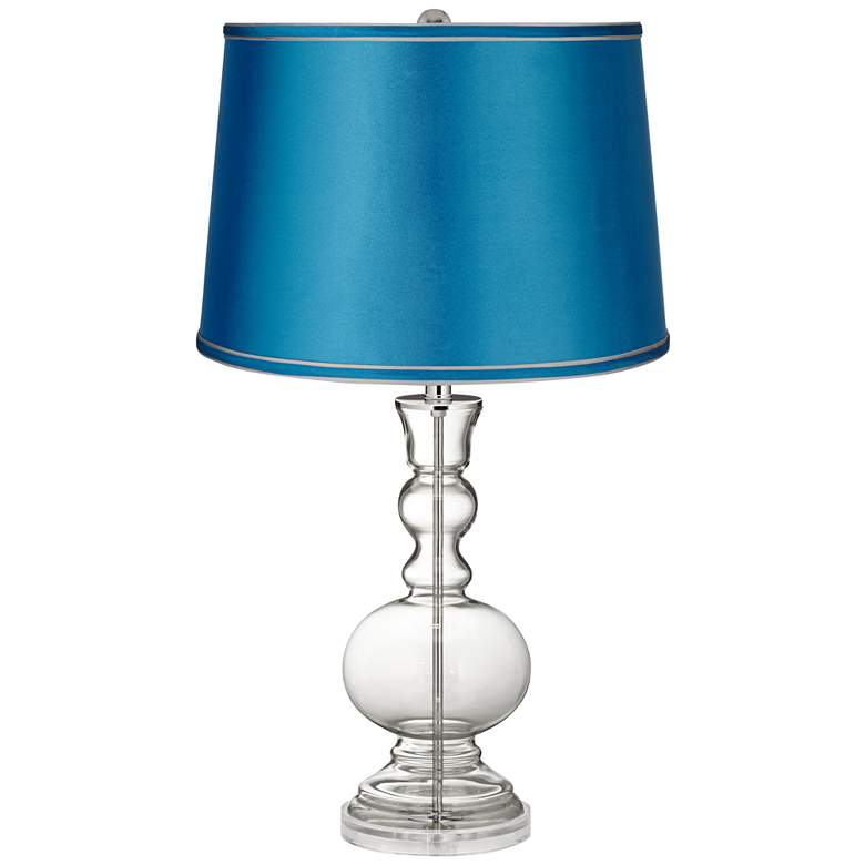 Clear Glass Fillable Satin Turquoise Shade Apothecary Lamp