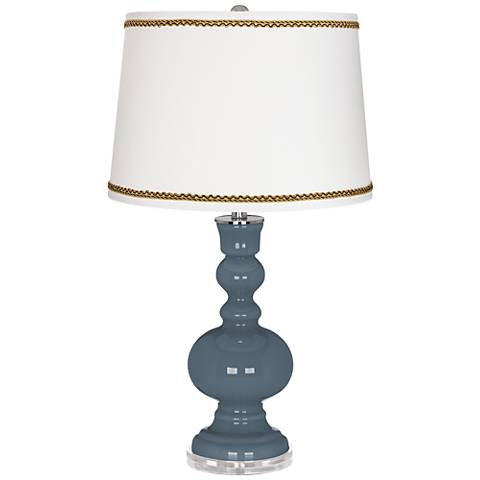 Smoky Blue Apothecary Table Lamp with Twist Scroll Trim