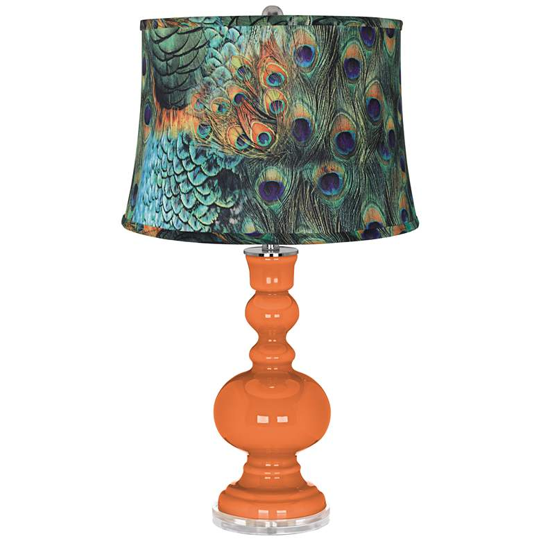 Celosia Orange Peacock Print Shade Apothecary Table Lamp