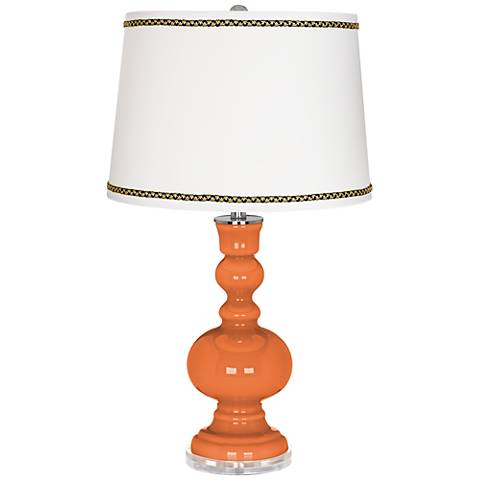 Celosia Orange Apothecary Table Lamp with Ric-Rac Trim