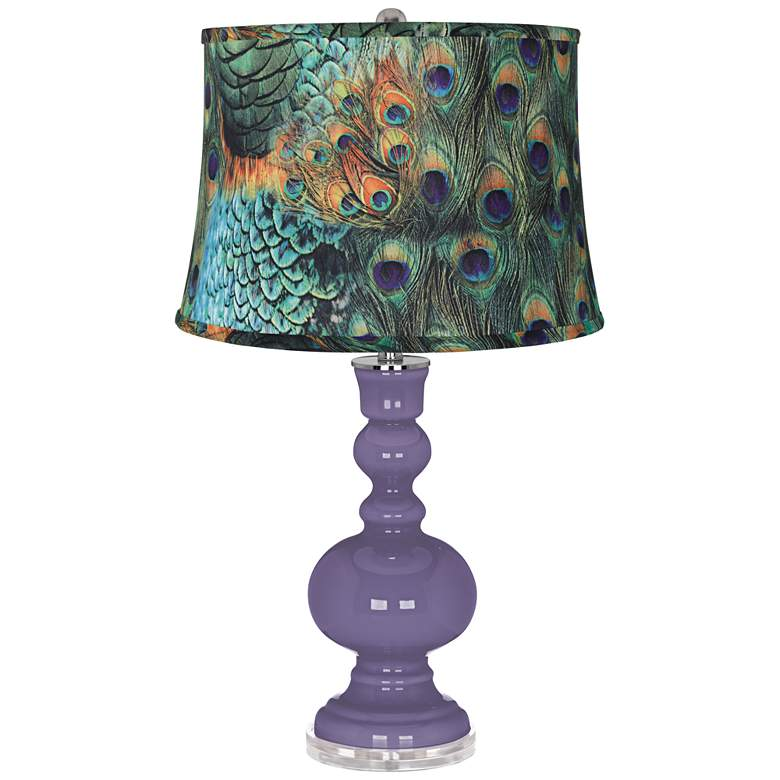 Purple Haze Peacock Print Shade Apothecary Table Lamp