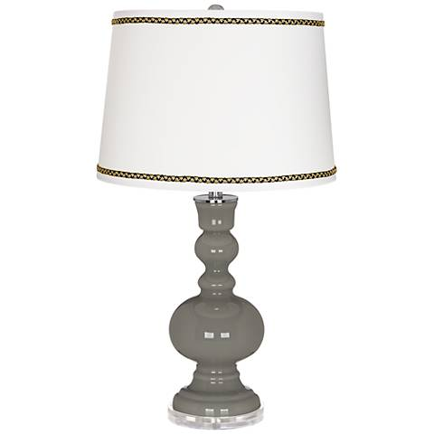 Gauntlet Gray Apothecary Table Lamp with Ric-Rac Trim