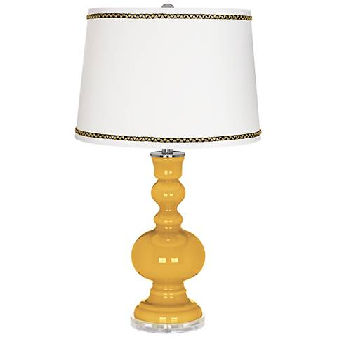 Goldenrod Apothecary Table Lamp with Ric-Rac Trim