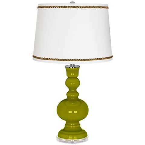 Olive Green Apothecary Table Lamp with Twist Scroll Trim