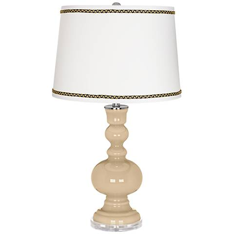 Colonial Tan Apothecary Table Lamp with Ric-Rac Trim