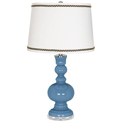 Secure Blue Apothecary Table Lamp with Ric-Rac Trim