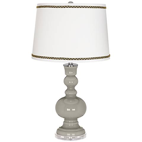 Requisite Gray Apothecary Table Lamp with Ric-Rac Trim