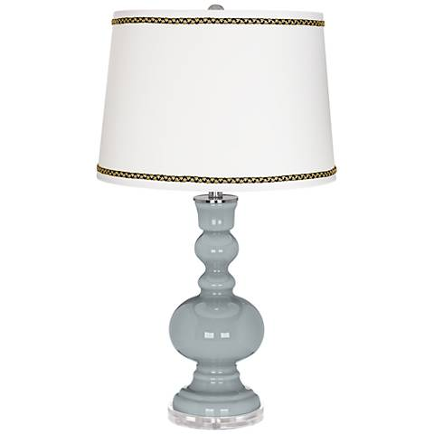 Uncertain Gray Apothecary Table Lamp with Ric-Rac Trim