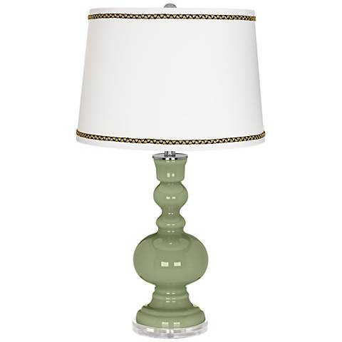 Majolica Green Apothecary Table Lamp with Ric-Rac Trim