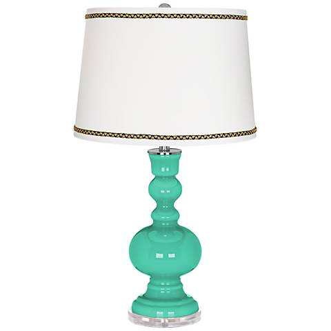 Turquoise Apothecary Table Lamp with Ric-Rac Trim