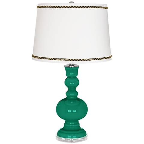 Leaf Apothecary Table Lamp with Ric-Rac Trim