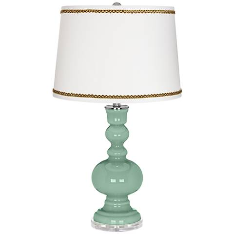 Grayed Jade Apothecary Table Lamp with Twist Scroll Trim