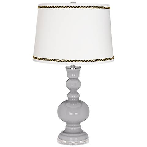 Swanky Gray Apothecary Table Lamp with Ric-Rac Trim