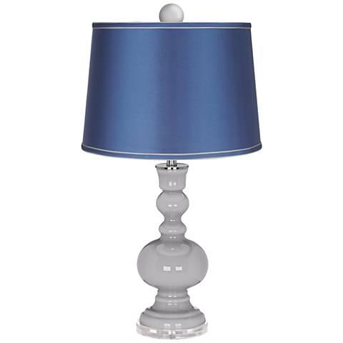 Swanky Gray Apothecary Lamp-Finial and Satin Blue Shade