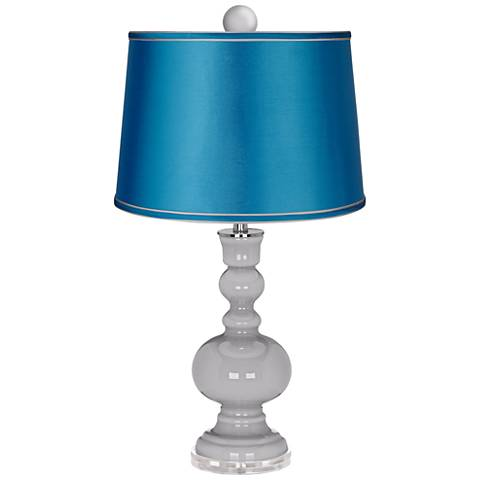 Swanky Gray Apothecary Lamp-Finial and Turquoise Shade