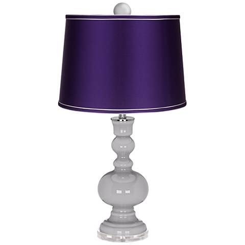Swanky Gray Apothecary Lamp-Finial and Satin Purple Shade