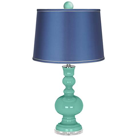 Larchmere Apothecary Lamp-Finial and Satin Blue Shade