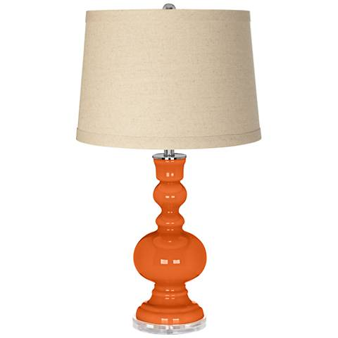 Invigorate Burlap Drum Shade Apothecary Table Lamp