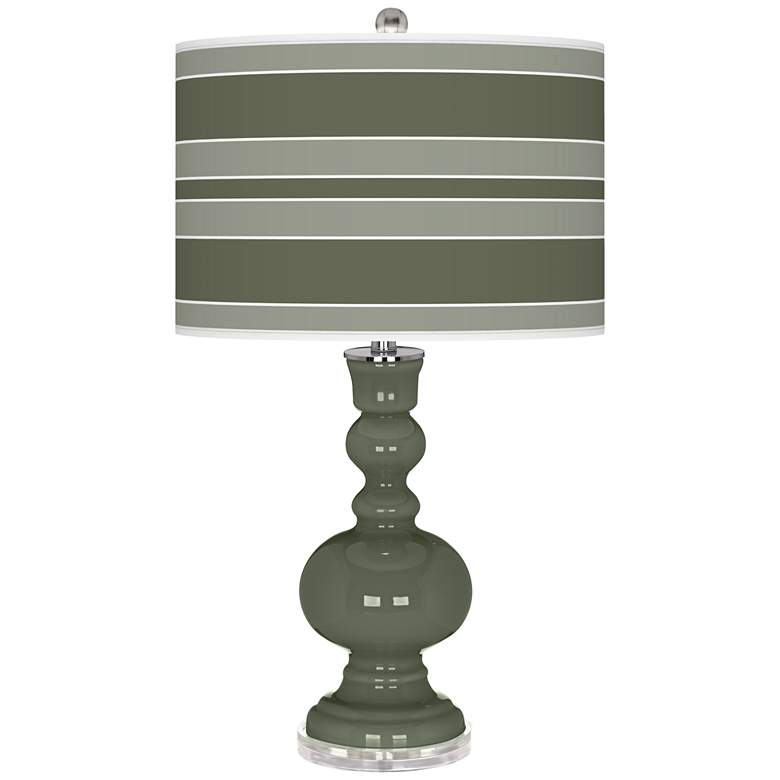 Deep Lichen Green Bold Stripe Apothecary Table Lamp