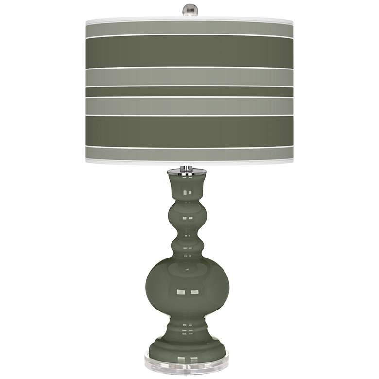 Deep Lichen Green Bold Stripe Apothecary Table Lamp