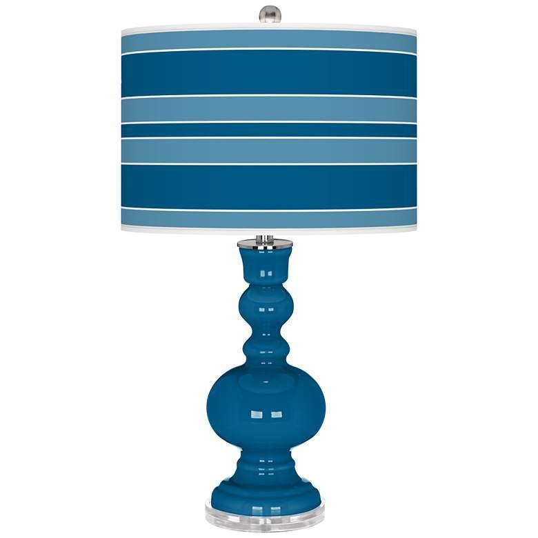 Mykonos Blue Bold Stripe Apothecary Table Lamp
