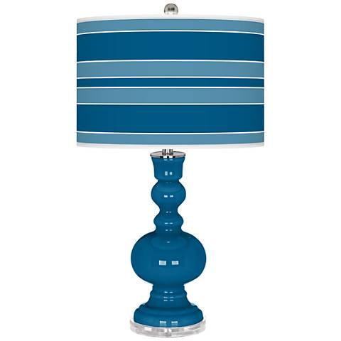 Mykonos Blue Bold Stripe Apothecary Table Lamp