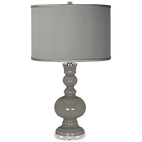 Gauntlet Gray - Gray Faux Silk Apothecary Table Lamp